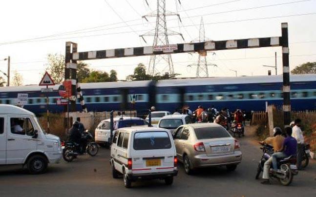 Unmanned railway crossing
