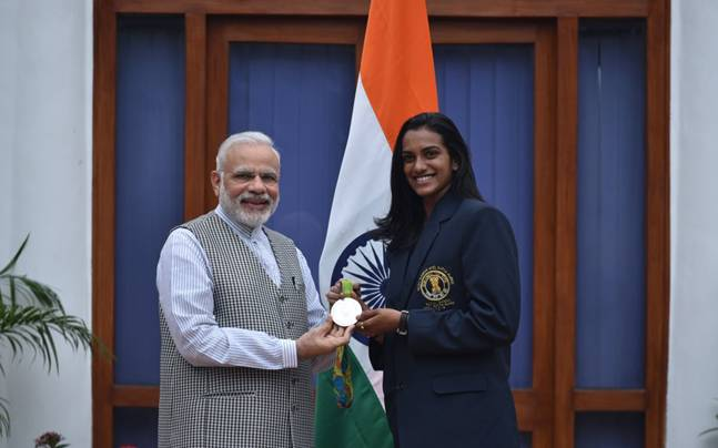 PV Sindhu with PM Narendra Modi