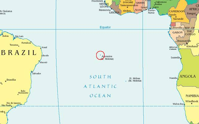 Map showing the location of Ascension Island (Image: Wiki)