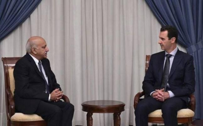 MoS External Affaris, MJ Akbar and Syrian President Bashar Al Assad. (Photo: Twitter account of Vikas Swarup)