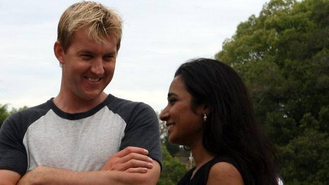 Brett Lee and Tannishtha Chatterjee in a still from UnIndian