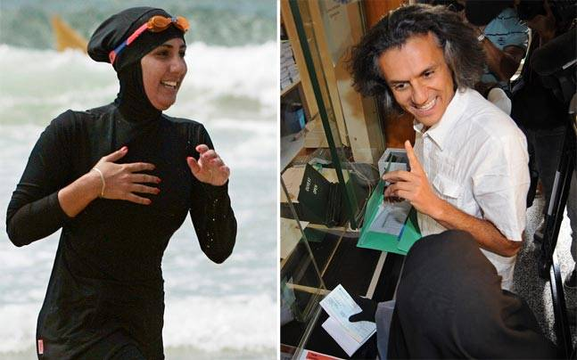 French businessman Rachid Nekkaz has found a unique way of protesting the Burkini ban. Photo: Reuters