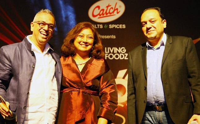 Punit Goenka and Karen Anand with Nitin Tandon, the winner of the Food Stylist Award. Photo: Living Foodz