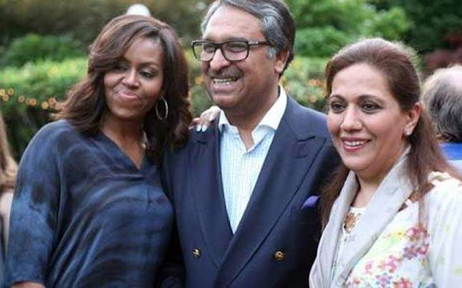 Michelle Obama, Pakistan Ambassador to the US Jalil Abbas Jilani and his wife Shaista Jilani.