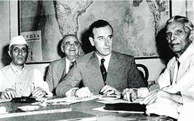 Nehru, Mountbatten and Jinnah during a conference. Picture Credits: The Friday Times