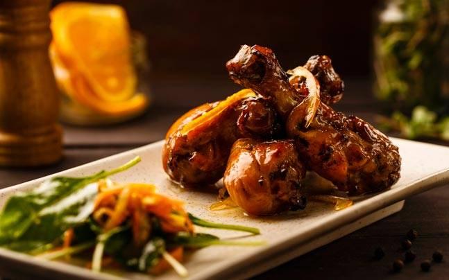 Orange glazed chicken legs with honey mustard, at Piali. Photo: Piali