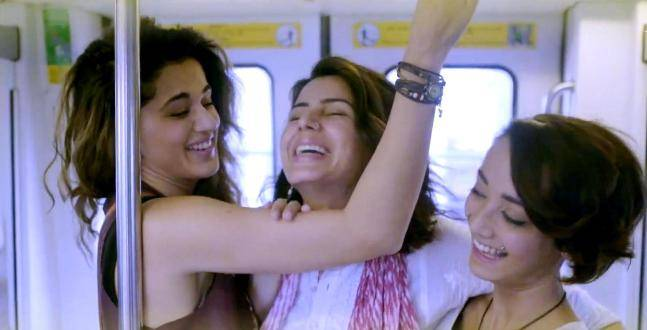 Taapsee Pannu, Kirti Kulhari and Andrea Tariang in a still from Pink