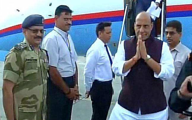 Home Minister Rajnath Singh arrives in Delhi from Islamabad after attending SAARC conference. (Photo: ANI)