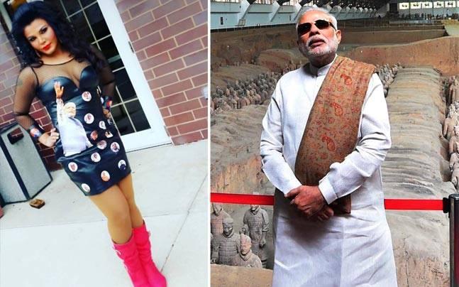 Rakhi Sawant's dress is proof of her love for Modi ji. Pictures courtesy: Instagram/rakhisawant151; Twitter/@pankaj236raj