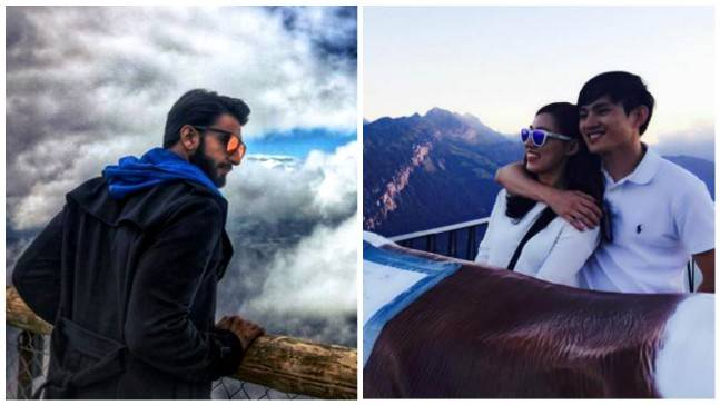(L to R) Ranveer Singh in Switzerland, the Asian couple photographer by Ranveer