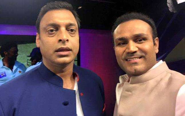 A file image of Virender Sehwag and Shoaib Akhtar. (Facebook)