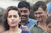 SEE PICS: Sonakshi Sinha, Kanan Gill spotted shooting for Noor on Worli seaface