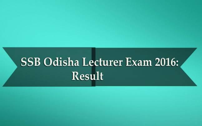 SSB Odisha Lecturer Exam 2016