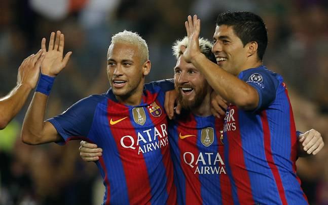 Lionel Messi with Neymar and Luis Suarez