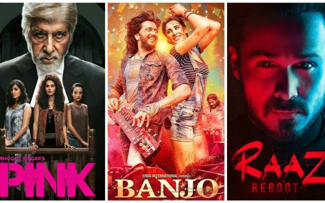 (L to R) Posters of Pink, Banjo, Raaz Reboot