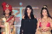 Ekta Kapoor promotes her upcoming show with 'Chandra' Rajat Tokas and Shweta Basu Prasad 'Nandni'; see pics
