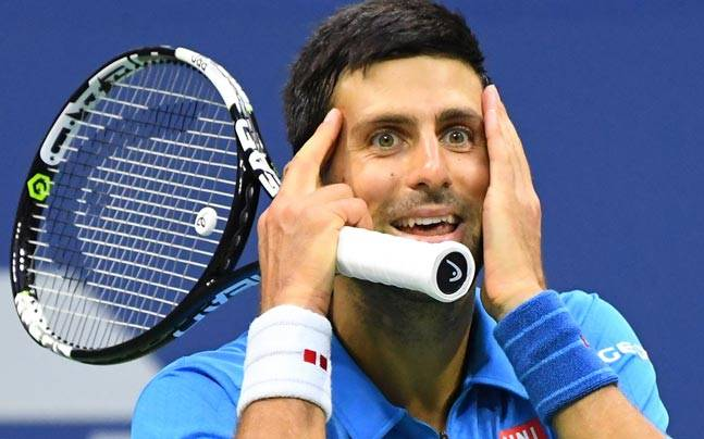 Novak Djokovic reacts during his match against Stan Wawrinka in the US Open final. (Reuters Photo)