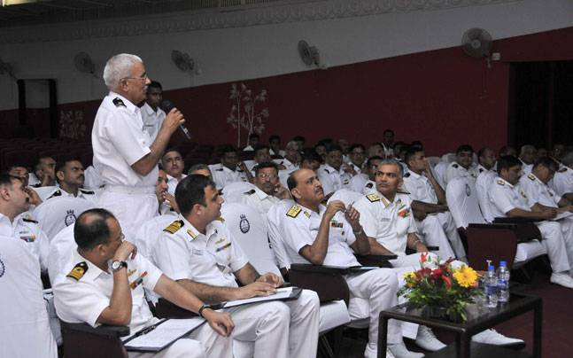Senior sailors and the MCPOs during the conference in Mumbai.