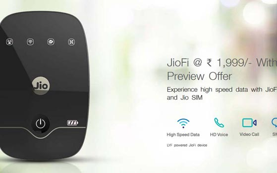 JioFi router now selling for Rs 1,999, RIL announces free Jio apps