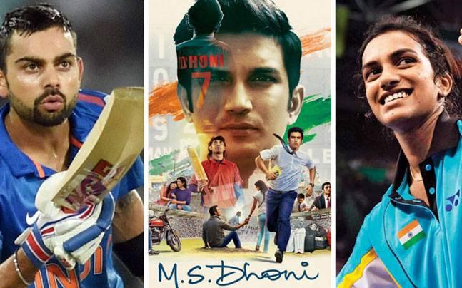 (L to R) Virat Kohli, a poster of MS Dhoni: The Untold Story, PV Sindhu