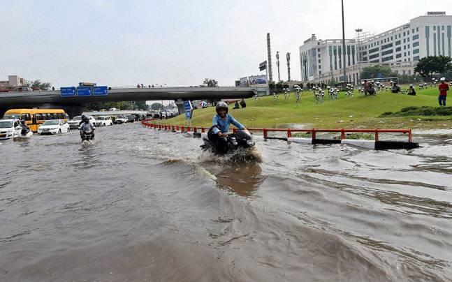 Waterlogged carriageway near AIIMS