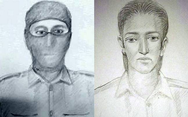 Sketches of suspected terrorists.