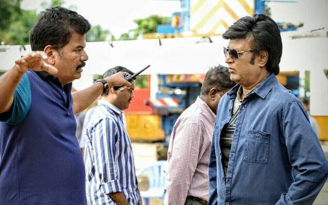 Shankar and Rajinikanth on the sets of 2.0