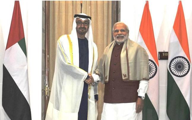Sheikh Mohamed bin Zayed Al-Nahyan with Narendra Modi