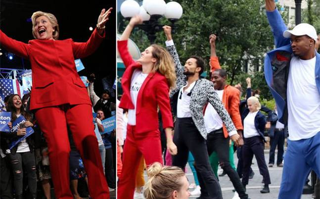 Hillary Clinton pantsuit-inspired flash mob. Photo: Reuters