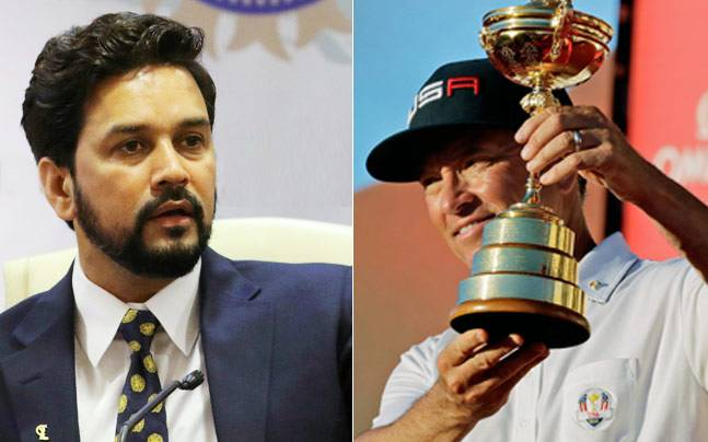 Anurag Thakur and Davis Love III (PTI/AP Photo)