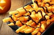 These pumpkin and chocolate topped French fries scream of a spooky Halloween