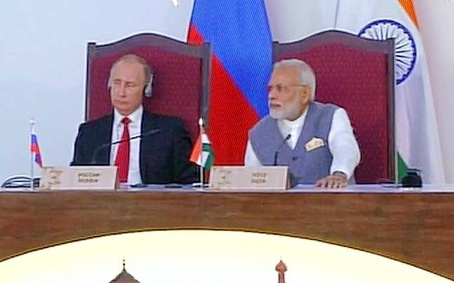 President of Russia Vladimir Putin and Prime Minister Narendra Modi