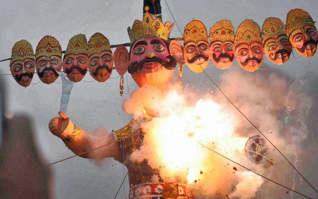 Ravana effigy burning
