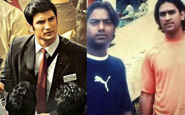 (L to R) Sushant Singh Rajput in a still from MS Dhoni: The Untold Story, Santosh Lal and MS Dhoni