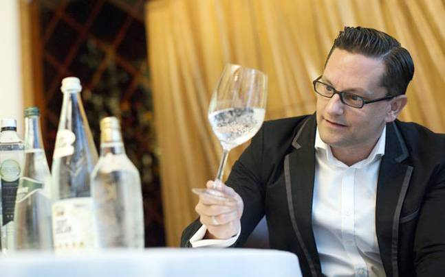 Martin Riese is the only water sommelier working in Los Angeles, California. Photo: Reuters