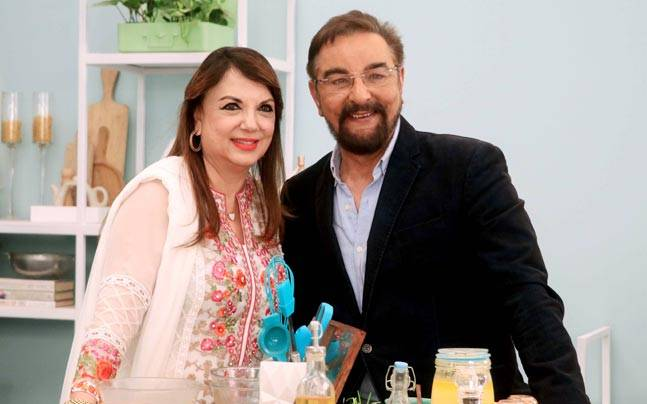 Zarine Khan, with actor Kabir Bedi, on the sets of her new food show. Photo: Yogen Shah