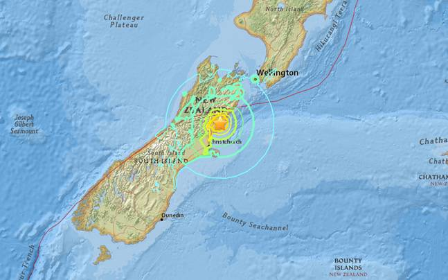 Usgs Map Of Magnitude 7 8 Earthquake In New Zealand