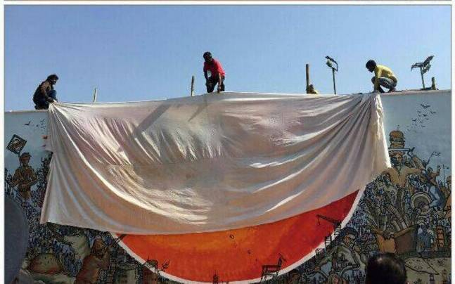 Shiv Senas Men Enter Iit B Campus And Cloaked The Profane Painting