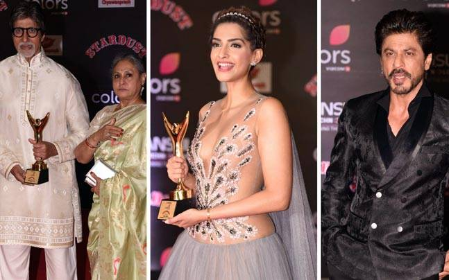 (L to R) Amitabh Bachchan, Sonam Kapoor and Shah Rukh Khan at Stardust Awards 2016 (Photos: Viral Bhayani)