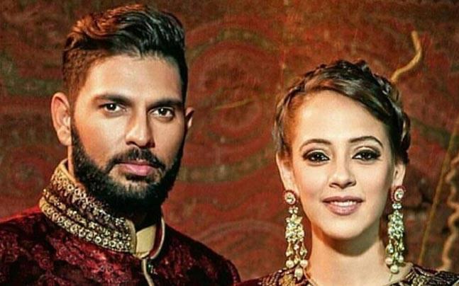 Yuvraj Singh (L) and Hazel Keech