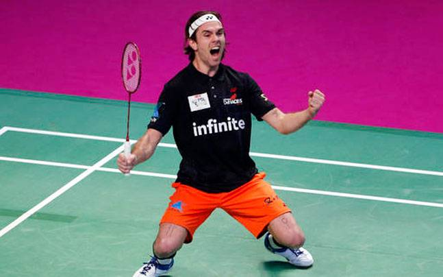 Danish badminton player Jan O Jorgensen of Delhi Acers celebrates after his win over Tommy Sugiarto of Chennai Smashers. (AP Photo)