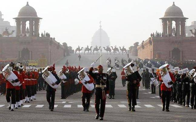 Army band practices for the Beating the Retreat ceremony in New Delhi.