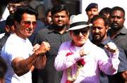PHOTOS: Jackie Chan arrives in India to promote Kung Fu Yoga, gets a traditional welcome