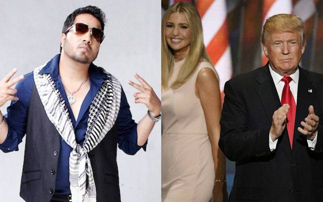 Mika Singh (L), Donald Trump and Ivanka Trump (R)