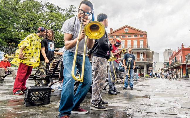 Musicians at Jackson Square in New Orleans. Photo:Mail Today