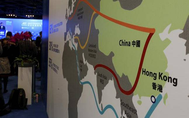 Map illustrating China's 'One Belt, One Road' project