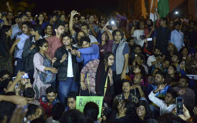 Kanhaiya Kumar with JNU students last year (File photo)