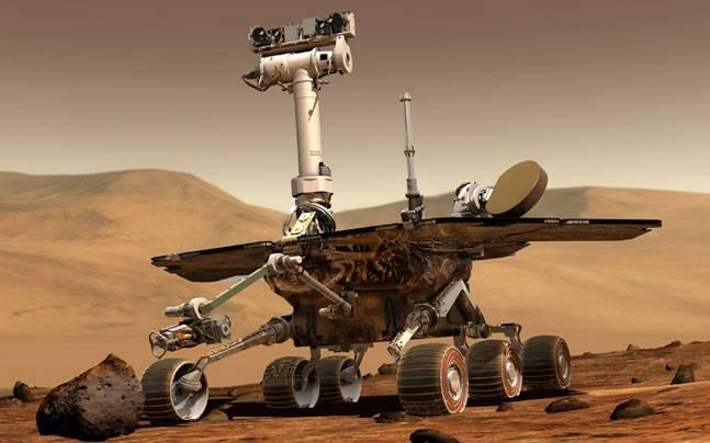 A computer drawing shows a rover on Mars (Credits: NASA)