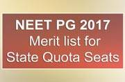 NEET PG 2017: Merit list for State Quota Seats