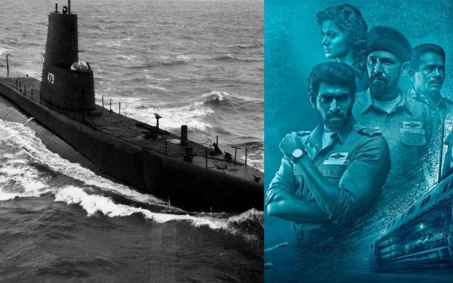 PNS Ghazi, courtesy Wikimedia Commons (L), a poster of The Ghazi Attack (R)